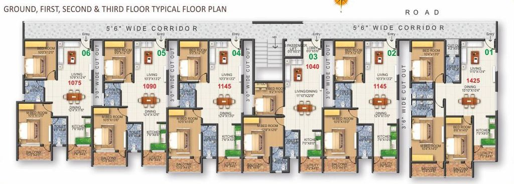 Fern White House in Whitefield Road  Bangalore   Price  Floor        White House in Whitefield Road  Bangalore  Floor Plan   Typical  Ground   First   Second  amp  Third Floors    Fern