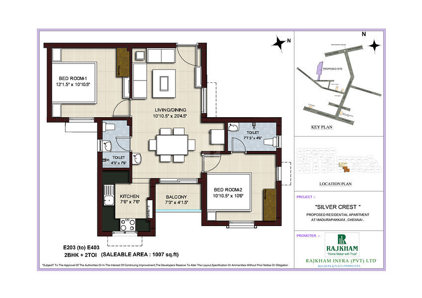Rajkham silver crest 2 2 5 3 bhk apartment in home for Crest home designs bedding