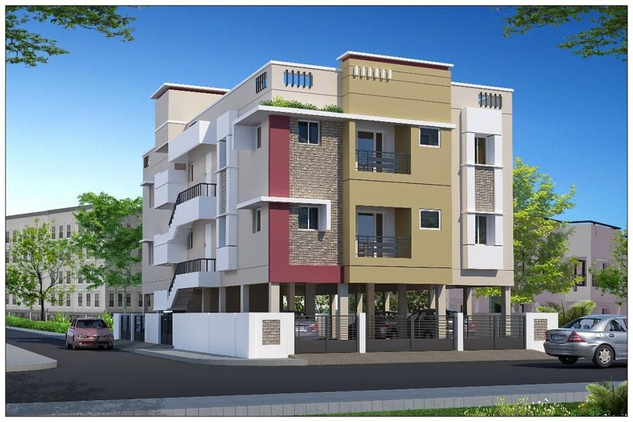 2 Floor Apartment Elevation : Pappas prakash flats in madipakkam chennai roofandfloor